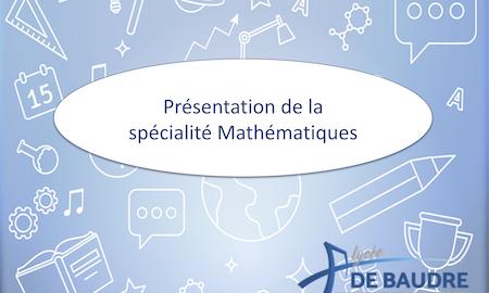 L'enseignement de spécialité mathématiques au lycée De Baudre 2021-2022 miniature 450px